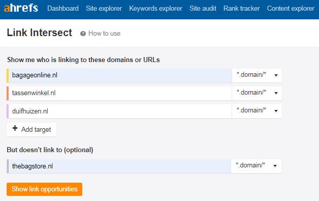 Linkbuilding Tool Ahrefs Link Intersect