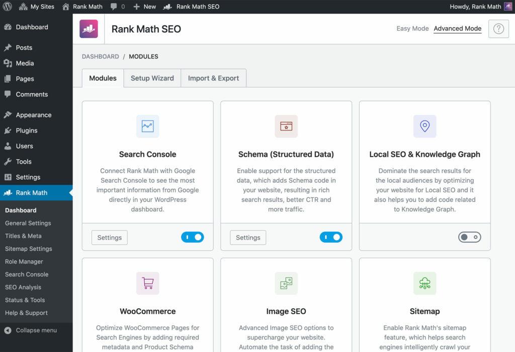 Rank math SEO tool